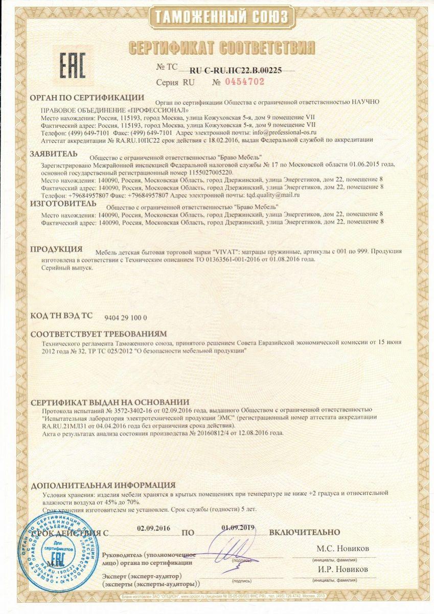 Сертификат матрасы детские