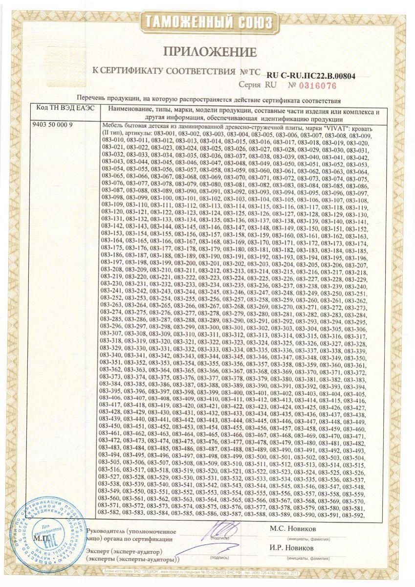 Сертификаты на детские кровати 2